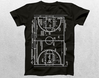 Basketball Court Patent T-Shirt, Basketball Court Blueprint, Patent Print T-Shirt, Basketball Player Shirt, Basketball Coach Gift p429