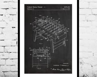 Foosball Table Patent, Foosball Table Poster, Dorm Decoration, Sports Gift, Gift for dad, Home Decor, Teen decor, Gifts for him p788