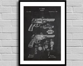 Revolver Patent Print Art Patent Revolver Wall Art Poster Patent Print Wall Art Poster decor Revolver Patent art gun enthusiast gun p1283