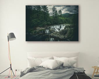nature photography canvas Photo Pine Trees in Forest River Art River Landscape Nature Photography Home Decor Tree Photo  Wall Decor PH044