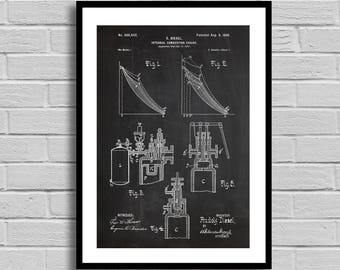 Internal Combustion Engine Patent,Engine Patent Poster,Internal Combustion Engine Blueprint,Internal Combustion Engine Print, Diesel p1123