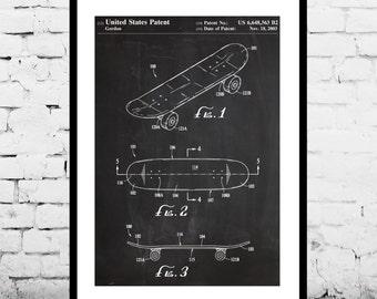 Skateboard Poster, Skateboard Art, Skateboard Print, Skateboard Patent, Skateboard Decor, Skateboard deck p855