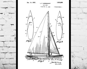 Sailboat Print Sailboat Poster Sailboat Patent Sailboat Decor Sailboat Art Sailboat Wall Art Sailboat Blueprint Nautical Design p421