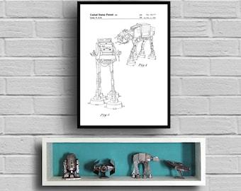 Star Wars AT-AT Star Wars Poster At-At Star Wars Patent At-At Star Wars Print Millennium Falcon At-At Black and white p948