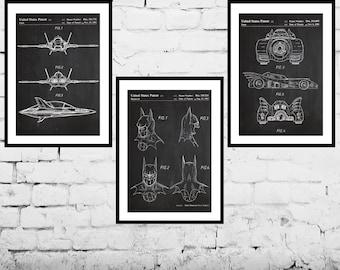 Batman, Batman Poster, Batman Art, Batman wall decor, Batmobile, Batwing, Bat Symbol, Batman 3 pack sp530