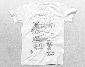 Guitar Patent T-Shirt, Guitar Blueprint, Patent Print T-Shirt, Guitarist Shirt, Musician Gift, Band tee, patent shirt p774