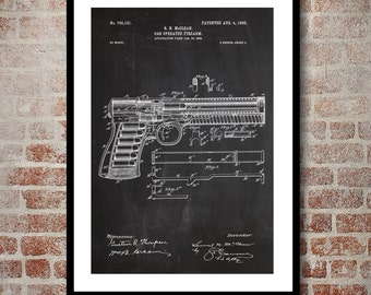 Gas Powered Firearm Poster Gas Powered Firearm Pistol Patent Firearm Pistol Print Firearm Art Firearm Decor Firearm Blueprint sp316