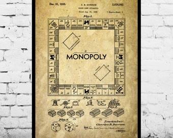 Monopoly Poster, Monopoly Patent, Monopoly Print, Monopoly Art, Monopoly Blueprint, Monopoly Wall Art, Board game p1442