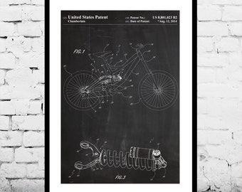 Bicycle Shock Patent, Bicycle Frame Poster, Bicycle Shock Print, Bicycle Frame Art, Bicycle Shock Decor, Bicycle Frame Blueprint p698