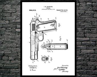 Colt 45 Poster Colt 45 Patent Colt 45 Print Colt 45 Art Colt 45 Blueprint Colt 45 Wall Art Colt 45 Decor Gun patent print patent p1252
