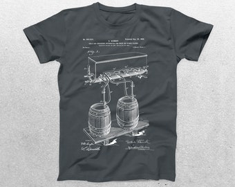 Brewing Beer Patent T-Shirt, Brewing Beer Blueprint, Patent Print T-Shirt, Gifts For Him, Patent Shirt, Beer Shirt, Cool Gifts p972