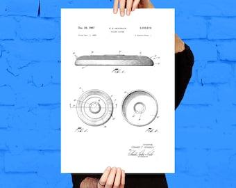 Frisbee Poster, Frisbee Patent, Frisbee Decor, Frisbee Art, Frisbee Print, Frisbee Wall Art, Frisbee Blueprint p804