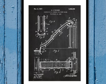 Water Slide Patent Water Slide Poster Water Slide Blueprint Water Slide Print Water Slide Art p666