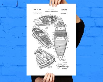 Canoe Patent Canoe Poster Canoe Blueprint  Canoe Print Canoe Art Canoe Decor p069