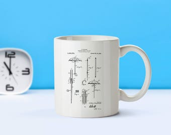Umbrella Cane patent mug  coffee mug  coffee lover  patent art  patent mug  Seasonal Decor Vintage CollectibleOutdoor GiftM292