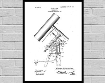 Telescope Patent Print| Astronomer Gift| Space Poster| Scientist Gift| Home Decor| Astronomy Poster | Astronomy patent | Patent | SP232