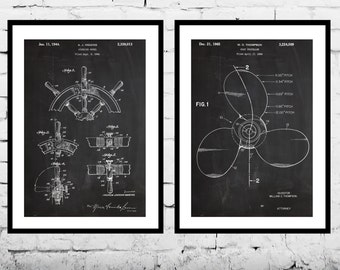 Nautical Inventions  Nautical Patent  Nautical Wall Art  Nautical Decor  Ship's Wheel Patent  Ship's Propellor Patent  Captain Gifts sp503