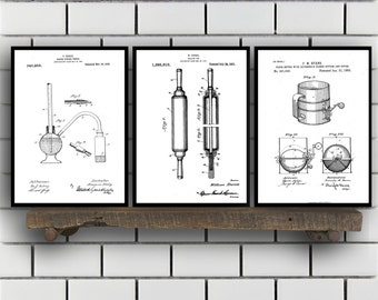 Baking Patent Poster set of 3 - Baking Powder tester - flour sifter Poster - Kitchen Patent - Kitchen Wall Art - Cooking Art - Kitchen SP88