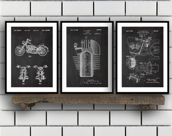 Harley Davidson Patent Posters Group of 3, Harley Davidson Prints, Vintage Motorcycle, Motorcycle Parts, Motorcycle Harley Patent sp290