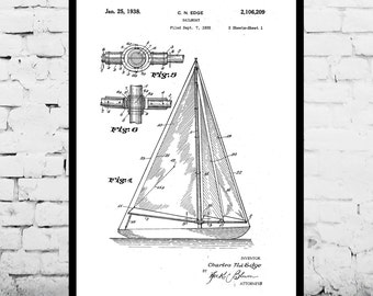Sailboat Print Sailboat Poster Sailboat Patent Sailboat Decor Sailboat Art Sailboat Wall Art Sailboat Blueprint Nautical Design p419
