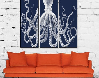 Canvas Lord Bodner Octopus Giclee Retro Octopus Triptych Premium Archival Matte Paper Navy Blue and White Lord Bodner Octopus Kraken