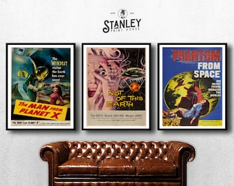 MOVIE posters set of 3 vintage not of this earth Classic Horror space poster godzilla Poster Art Vintage Print Art Home Decor monster sp597