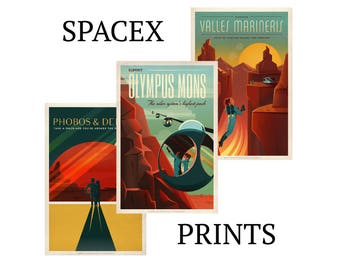 SPACEX POSTER art Spacex print Space travel posters Retro Space Designs Elon Musk SpaceX Mars Retro Space Space Poster Space travel sp500