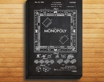 CANVAS  Monopoly Patent Monopoly Poster Monopoly Print Monopoly Art Monopoly Decor Monopoly Blueprint Monopoly Board Game p1442