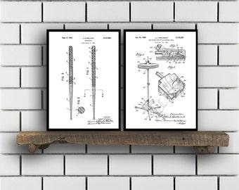 Drum Patents Set of 2 Prints Drum Prints Drum Posters Drum Blueprints Drum Art Drum Wall Art Sp314
