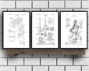 Chemistry Patents Set of 3 Prints, Chemistry Prints, Chemistry Posters, Chemistry Blueprints, Chemistry Art, Chemistry Wall Art Sp310