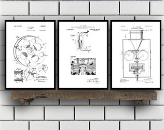 Motion Picture Patent SET of 3 - Motion Picture Patent - Motion Picture Art - Mancave Decor - Motion Picture, Art, Home Decor SP465
