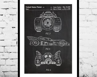Batman Batmobile Print Batman Batmobile Patent Batman Batmobile Poster Batman Batmobile Art Batman Batmobile Decor Batman Batmobile p907