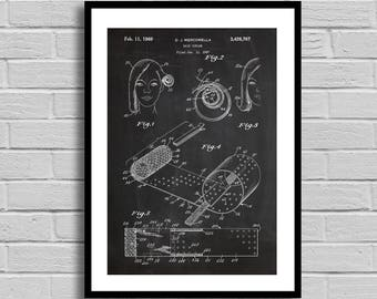 Hair Curler Patent Hair Curler Patent Poster Hair Curler Blueprint Hair Curler Print Salon Decor Vintage Home Decor Bathroom Decor p1011