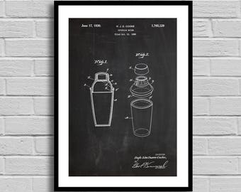 Cocktail Mixer Patent Cocktail Mixer Patent Poster Cocktail Mixer Blueprint Cocktail Mixer Print Bar Decor Vintage Kitchen Decor Drinks p984
