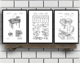 Piano Patents Set of 3 Prints, Piano Prints, Piano Posters, Piano Blueprints, Piano Art, Piano Wall Art Sp335