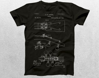 Guitar Patent T-Shirt, Guitar Blueprint, Patent Print T-Shirt, Guitarist Shirt, Musician Gift, Band tee, patent shirt p026