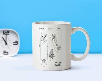 Skateboard patent mug  coffee mug  coffee lover  patent art  patent mug Skateboarder Gift Skateboarding Skateboard CollectibleM71