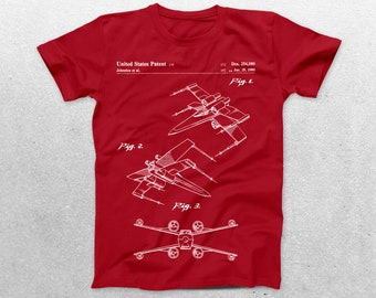 Star Wars X Wing Patent T-Shirt, X Wing Blueprint, Star Wars Patent Print T-Shirt, Star Wars T-Shirt, Star Wars Gifts, p943