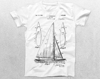 Sailboat Patent T-Shirt, Sailboat Blueprint, Patent Print T-Shirt, Nautical Shirt, Sailing Enthusiast, Sailor Gifts p421