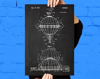 Hot Air Balloon Patent Hot Air Balloon Poster  Hot Air Balloon Print Hot Air Balloon Art Hot Air Balloon Decor p170