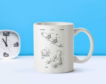 Snowboard patent mug  coffee mug  coffee lover  patent art  patent mug Sports decor Winter SportsAthlete GiftsSnowboarder GiftsM61