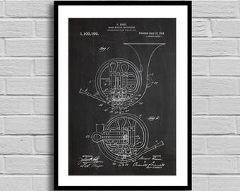 French Horn Patent, French Horn Patent Poster, French Horn Blueprint, French Horn Print, Band Decor,Vintage,Orchestra, Musician Gift, p803