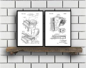 Piano Patents Set of 2 Prints Piano Prints Piano Posters Piano Blueprints Piano Art Piano Wall Art Sp332