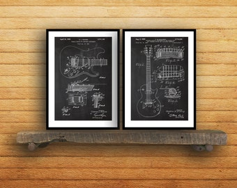 Fender Guitar Prints  Set of 2  Fender Patent Guitar Poster Fender Guitar Blueprint Fender Guitar Print fender Art Guitar Decor sp43
