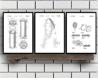 Tennis Patents Set of 3 Prints, Tennis Prints, Tennis Posters, Tennis Blueprints, Tennis Art, Tennis Wall Art, Sport Prints, Sport Art Sp320
