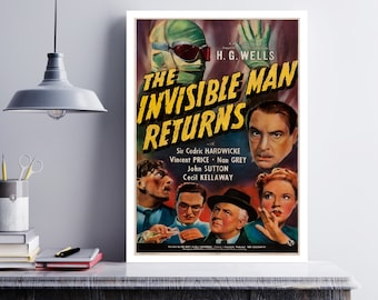 MOVIE poster vintage The Invisible Man Returns Classic Horror Fantasy poster Poster Art Vintage Print Art Home Decor movie poster art sp642