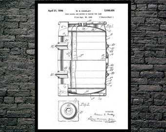 Beer Barrel Print Beer Barrel Poster Beer Barrel Patent Beer Barrel Art Beer Barrel Decor Beer Barrel Blueprint Beer Barrel Wall Art p1227