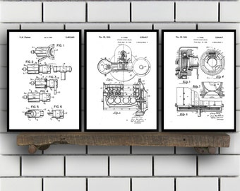 Ford Patent SET of 3 - Henry Ford Patent - Ford Inventions - Ford Motors Art - Ford Transmission Patent - Mancave Decor - Ford Carb SP452