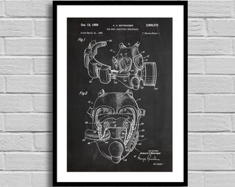 Gas Mask Patent Gas Mask Patent Poster Gas Mask Blueprint Gas Mask Print Vintage Decor Steampunk Decor War Collectible Home Decor p584