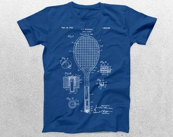 Tennis Racket Patent T-Shirt, Tennis Blueprint, Patent Print T-Shirt, Tennis Player Shirt, Tennis Coach Sports Shirt p888